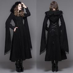 Black Embroidered Hooded Gothic Fashion Trench Coat Overcoat Women SKU-11401079
