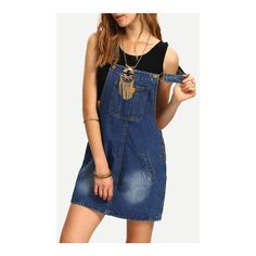 SheIn(sheinside) Denim Overall Dress ($15) ❤ liked on Polyvore featuring dresses, blue, short a line dresses, sleeved dresses, sleeveless dress, sleeveless a line dress and blue dress