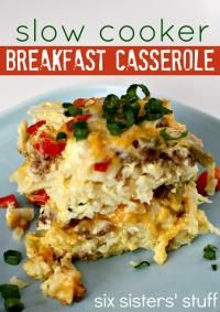 Slow Cooker Breakfast Casserole - frozen hashbrowns, 1lb sausage, cheddar& mozza cheese, red & green pepper, 12 eggs. Serves 12. 8 hours.