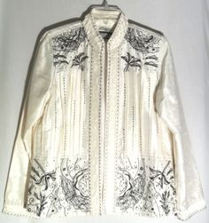 New YAK MAGIK Ivory Silk Open Jacket - Black Embroidery-Beads-Sequins - Large #YakMagik #BlazerJacket
