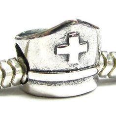 Amazon.com: Sterling Silver Nurse Cap w/ Cross Bead for Pandora Troll Chamilia Biagi European Charm Bracelets: Jewelry