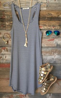Let's have some fun with this striped tank dress in navy.