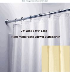 Wide x Long Hotel Water Repellent Nylon Fabric Shower Curtain Liner - Extra Wide and Extra Long Hotel Shower Curtain, Long Shower Curtains, Fabric Shower Curtains, Bathroom Kids, Bathroom Renos, Clawfoot Tub Shower, Painted Vanity, Shower Liner, Upstairs Bathrooms