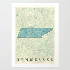 Tennessee State Map Blue Vintage Art Print
