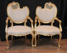 Photo of Pair French Rococo Louis XV Arm Chairs Armchair Fauteil Gilt