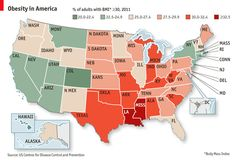 """Which American states are the most obese? Though some people abroad stereotype U.S. Americans as """"fat"""", there is clearly much diversity in the distribution of obesity among U.S. states."""