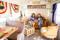 Amie & Jolie of The Junk Gypsy Company inside the airstream trailer they designed for Dierks Bentley. dreamers lovers & troubadours » Photography by April Pizana