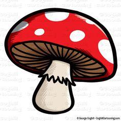 Mushroom cartoon character clip art stock illustration by George Coghill.