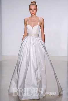 """Brides.com: Amsale - Fall 2014 """"Cameron"""" silk taffeta A-line wedding dress with a corseted sweetheart bodice, spaghetti straps, and a sheer back with a French lace detail, AmsalePhoto: Matteo Volta/ImaxTree.com"""