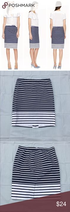 "J. Crew striped ""The Pencil Skirt"" 10 Worn once or twice, excellent pre-loved condition.  From my corporate work days. Completely lined with rear zipper and hook closure. Approx. 32"" waist, 21.5"" length. 98% cotton, 2% elastase. ✅offers❌trades/PP💰make an offer on bundles J. Crew Skirts Pencil"