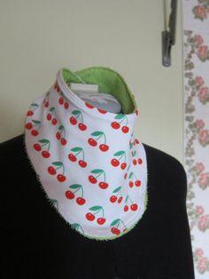 Reversible certified organic Cherry bib babies and by FalknerArt