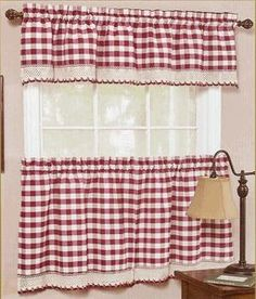 Buffalo Check Decorative Window Treatment - Burgundy - Achim - Country Kitchen Curtains