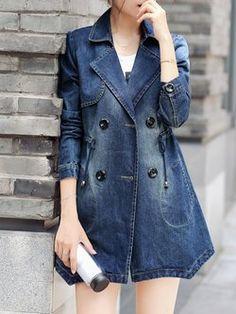 Blue Pockets A-line Casual Denim Coat
