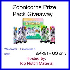 Top Notch Material: Zoonicorns Prize Pack Giveaway