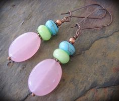 Copper Earrings w/ Rose Quartz Turquoise And Jade, Artist Handcrafted Gemstone Jewelry by KachinaDesigns, $16.95 USD