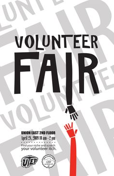 Volunteer fair - like a job fair but for volunteer opportunities. I like this poster as promo inspiration. Volunteer fair - like a job fair but for volunteer opportunities. I like this poster as promo inspiration. Volunteer Quotes, Student Volunteer, Poster Design Software, Recruitment Ads, Graphic Design Posters, Typography Design, Logo Design, Job Fair, Social Awareness