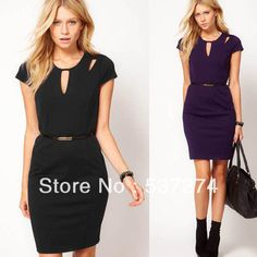 Women Back Zipper Cut Out Cap Sleeve Slim Fitted Business Office