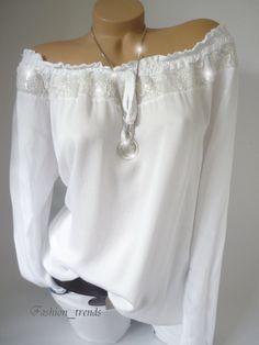 Italy Pailletten Bluse Spitze Carmen Shirt Top Tunika Langarm*Weiß*M-XL-38 40 42