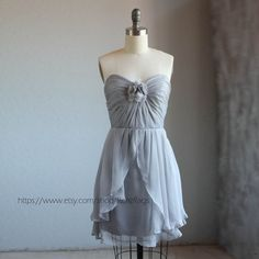Gray Wedding dress , chiffon party dress, grey bridesmaid dress, strapless formal dress in light gray  (B061))