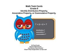 This products will give your students extra practice in identifying Distributive or Associative or Commutative Property. There are 24 task cards, student sheets, and an answer key.