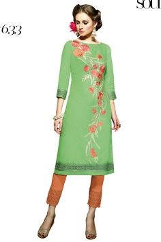 Designer party wear reyon green kurti with embroidery work 633