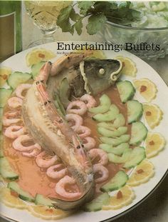 """Sea Bass Melbourne from the """"Encyclopedia of Creative Cookery"""" Scary Food, Gross Food, Weird Food, Retro Recipes, Vintage Recipes, Ethnic Recipes, Vintage Food, Kitsch, 70s Food"""