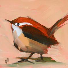 Cardinal no 53 original bird oil painting by by prattcreekart