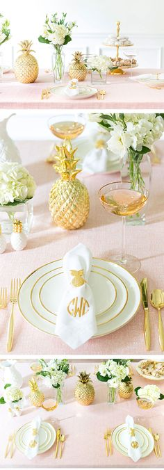 Preppy bridal shower tablescape idea - blush + gold table with pineapple details - perfect for a spring bridal shower {Courtesy of Pizzazzerie} For the bride & groom table? Bridal Shower Table Decorations, Bridal Party Tables, Bridal Shower Tables, Wedding Centerpieces, Wedding Decorations, Wedding Themes, Wedding Sets, Blush Bridal Showers, Summer Bridal Showers