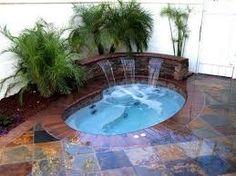 piletas piscinas esquina cascadas fuentes jacuzzi spa exterior sources
