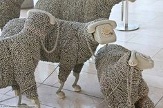 Phone Sheep. Recycled Telephone Wire / Phone Art Telephone cord sheep at the Communication Museum, Frankfort, Germany. jeanluc.cornec.de