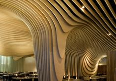 Located in Boston's old Penny Savings Bank, a restaurant named Banq stuns with a wave-like ceiling application made of layered birch plywood. The design curves and flows around the restaurant, dripping down the support columns and some of the walls. Restaurant Design, Deco Restaurant, Design Hotel, Restaurant Interiors, Tree Restaurant, Organic Restaurant, Modern Restaurant, Decoration Inspiration, Decoration Design