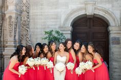 Tag your girls or future girls. How many bridesmaids is the right amount for y. Coral Bridesmaid Dresses, Burgundy Bridesmaid, Bridesmaid Flowers, Wedding Dresses, How Many Bridesmaids, Bridesmaids And Groomsmen, Wedding Bridesmaids, White Wedding Flowers, Wedding Photography Inspiration