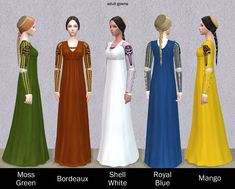 Italian Renaissance Hair and Gown for female by Renaissance Hairstyles, Renaissance Fashion, Italian Renaissance, Bridesmaid Dresses, Wedding Dresses, Sims 2, Italian Style, Simple Style, Gowns