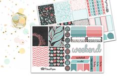 Each weekly midnight garden kit includes two kiss cut sheets of planner stickers, designed to fit in your Erin Condren Life Planner. Each two sheet kit includes:  8 full boxes 4 half boxes 4 quarter boxes 2 weekly habit trackers 7 checklists 3 horizontal flags 3 vertical flags 3 dewdrops 8 icons 2 ombre half boxes 1 weekend banner 2 cancelled/rescheduled diagonal stickers 4 headers stating: To Do, To Go, To Buy, Odds and Ends   Select Plus Add Ons from dropdown menu at checkout to also…