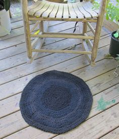 OOAk Upcycled  Crochet Round T Shirt Rug Shades by LakeShoreHome, $45.00