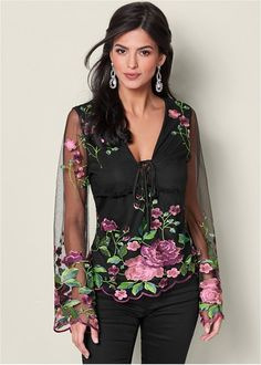 Order a sexy Black Multi Embroidered Mesh Blouse from VENUS. Shop short sleeve tops, tanks, tees, blouses and more at an affordable price today! Lace Tops, Floral Tops, Look Fashion, Fashion Outfits, Fall Fashion, Casual Outfits, Cute Outfits, Colored Skinny Jeans, Latest Fashion For Women