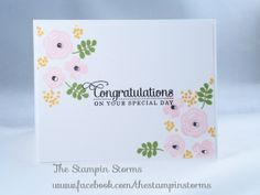 Mama Elephant Water Blooms Wedding Card. www.facbook.com/thestampinstorms