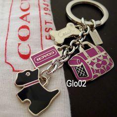 New Coach Scottie Dog Charm Mix Bone Carrier Pink Black Key Fob Ring Chain 92337   eBay
