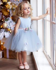 """The dress is """"made-to-order"""". Need to alter contact us confirm or use our fully … The dress is """"made-to-order"""". Need to alter contact us confirm or use our fully …,Blumenkinder The dress is """"made-to-order"""". Cute Flower Girl Dresses, Tulle Flower Girl, Girls Blue Dress, Little Girl Dresses, Simple Dresses, Flower Belt, Baby Flower, Vintage Baby Dresses, Tulle Flowers"""