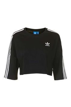 bb3357aec683f Three Stripe Crop Tee by Adidas Originals ( 35) ❤ liked on Polyvore  featuring tops