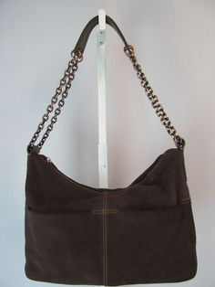 THE SAK ORIGINAL Medium Brown Suede Leather Bronze Chain Purse Hand Shoulder Bag #TheSak #ShoulderBag