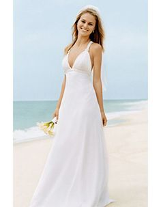 Casual Sexy A-Line Strap Long Chiffon Beach Wedding Dress for Bride - US$ 126.99 | https://eBuyWedding.com #Casual_Wedding_Dresses #Wedding_Dresses #Casual_Wedding_Dresses_Ideas