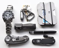 Seiko Sumo Curtiss F3 Compact Zebralight SC52 Quantum DD NME Ti bottle opener Fisher Space Pen w/ Stylus end Alox Cadet Obstructures Wallet ...