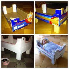 The idea exchange - children special - Kinderbastelei - Spielzeug Baby Doll Bed, Doll Beds, Baby Dolls, Doll Furniture, Kids Furniture, Diy For Kids, Crafts For Kids, Diy Bebe, Cardboard Toys