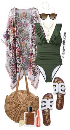 Plus Size Beach Vacation Outfits with a swimsuit, boho kimono, slide sandals, and straw tote. Alexa Webb Plus size beach vacation outfits with a boho kimono. Swimwear plus some casual outfits with denim shorts and a t-shirt dress. Boho Outfits, Summer Vacation Outfits, Cute Outfits, Beach Vacation Dresses, Sexy Casual Outfits, Casual Beach Outfit, Vacation Wear, Beach Vacations, Travel Outfits