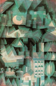 """Dream City"" (1921), by Paul Klee. Watercolor and oil; Private collection, Torino; Expressionism."
