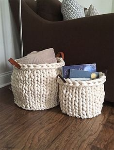 "Free Knitting Pattern for Sandhills Basket - These baskets are soft and flexible with just enough firmness. The pattern can be adapted to any size basket using jumbo yarn, 2 strands of super bulky yarn, or upholstery cording as shown. Finished Measurements of Small (Large) Baskets: Circumference: 32 (47)"" 81 (119)cm, Diameter: 12 (15)"" 30.5 (38)cm, Total Height: 10 (13)"" 25.5 (33)cm. Designed by Winnie Marie Designs. Knitting Needle Storage, Arm Knitting, Knitting Needles, Knitting Machine, Knitting For Beginners, Knitting Stitches, Yarn Projects, Sewing Projects, Small Knitting Projects"