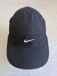 f85e90ed200 NIKE DRI-FIT Hat FeatherLight Black Adjustable Running Sport Cap MINT!  Nike   Running
