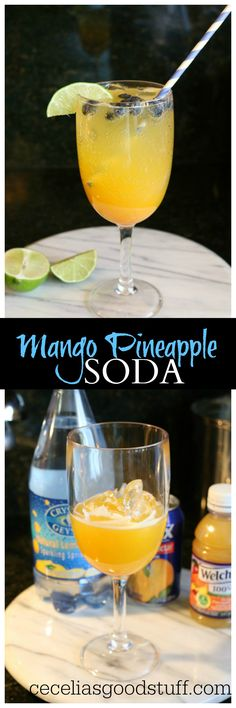 Healthy Natural Soda Recipe - Summer Drink Ideas - http://ceceliasgoodstuff.com/natural-mango-pineapple-soda