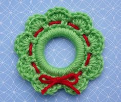 "Christmas Wreath Ring Ornament - Use a 2"" plastic ring to create this mini ornament. #crochet #pattern"